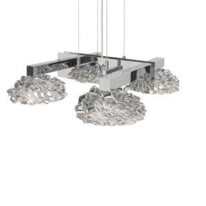 Подвесная люстра Ilfari, покрытая хромом из латуни с серебристыми стеклянными плафонами, артикул H 6449 SI