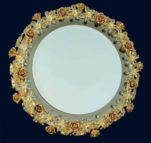 Круглое латунное зеркало с хрусталем FAUSTIG, артикул 30100.9/65 Gold
