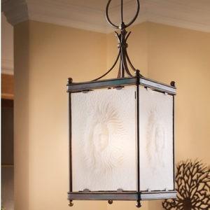 Люстра фонарь Robers - подвесной фонарь с элементами ковки и стеклом с рисунком, артикул HL2525