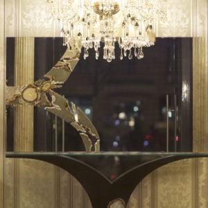 Большое зеркало на стену без рамы с хрусталем и драгоценными камнями, артикул FWS 005M