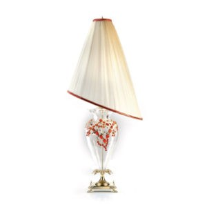 Настольная лампа белая с абажуром асимметричной формы и красным хрусталем, артикул L1612