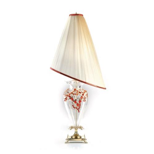 Лампа с абажуром асимметричной формы и красным хрусталем, артикул L1612