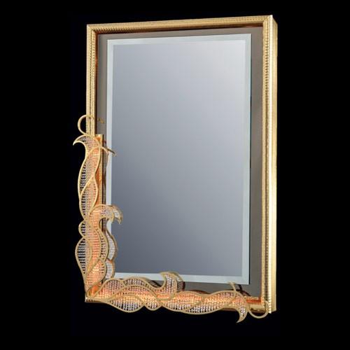 Зеркало, покрытое золотом, декор зеркала из золота и хрусталя FAUSTIG, артикул 23401.9/90 G