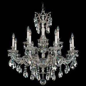 Люстра серебряного цвета Schonbek с хрустальными кристаллами Swarovski с серебряным напылением, артикул 5682-48SH