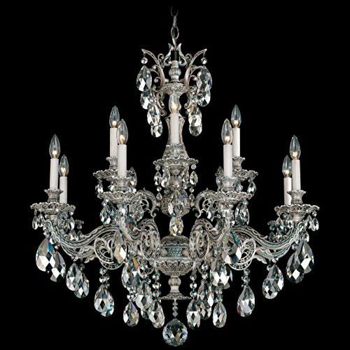 Люстра серебряного цвета Schonbek с хрустальными кристаллами Swarovski с серебряным напылением, 5682-48SH