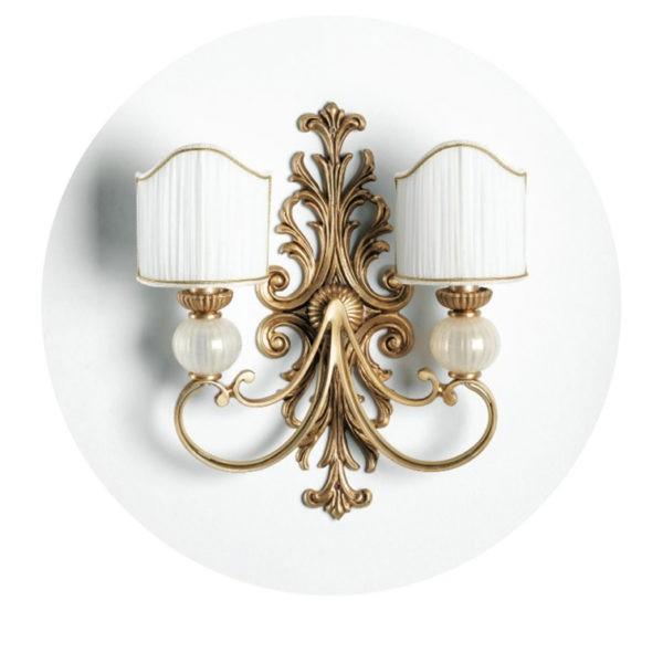 Бра золотого цвета с резным барельефом и белым матовым стеклом, артикул L905