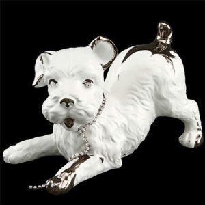 Статуэтка собачки Ahura из белой керамики с серебром, артикул R1788C/BPLY