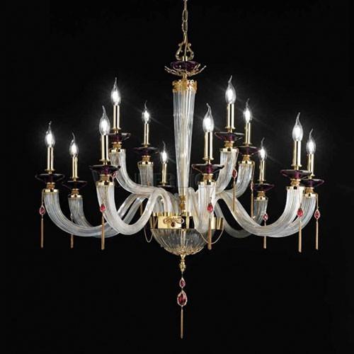 Стеклянная люстра с подвесками из хрусталя EUROLUCE LAMPADARI, артикул Julienne/ L12+6L