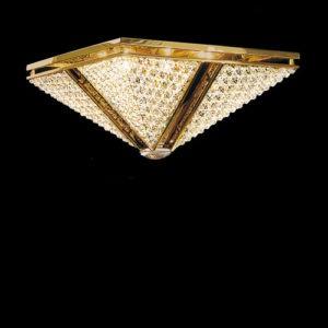 Квадратный потолочный светильник с блестящим золотом декорирован прозрачным хрусталем Swarovski, артикул 51801.7/50