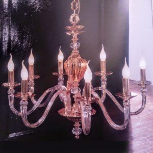 Люстра классическая розовая из стекла с хрусталем EUROLUCE LAMPADARI, Donatello/L8L
