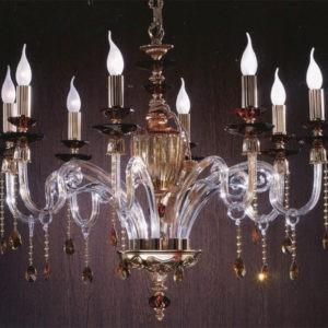 Люстра янтарная с хрустальными кристаллами Сваровски EUROLUCE LAMPADARI, Elsa/L8L