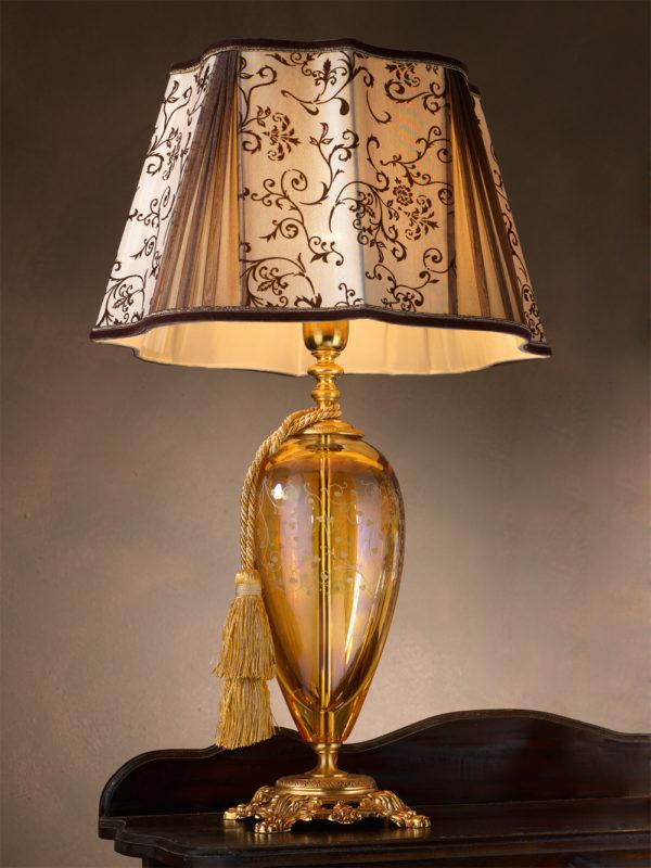 Янтарная настольная лампа с коричневым абажуром EUROLUCE LAMPADARI, артикул Lady/LG1L A