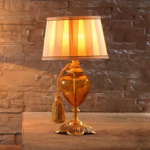 Настольная лампа классика для спальни с янтарным стеклом EUROLUCE LAMPADARI, артикул LuigiXV/LP1L A