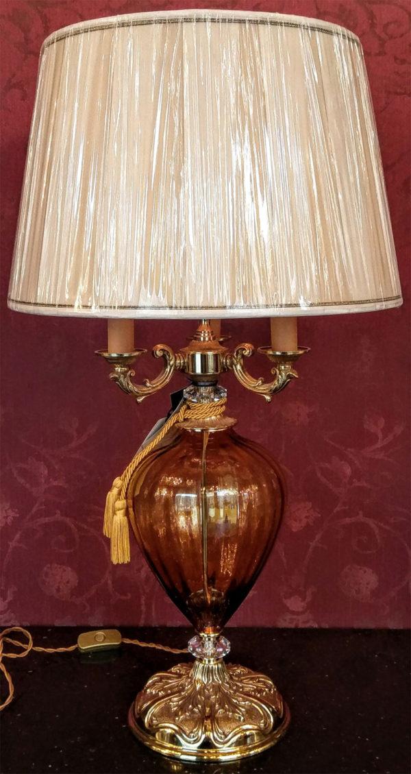 Настольная лампа (стекло, золото) EUROLUCE LAMPADARI, абажур из сатина, артикул