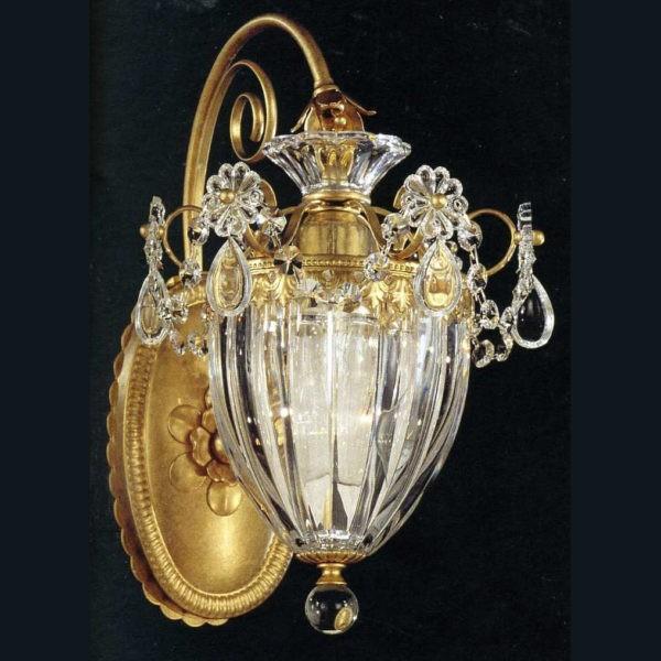 Классическое бра (золото 24kt) SCHONBEK из золота с цветами и подвесками из прозрачного хрусталя, артикул 1240-48