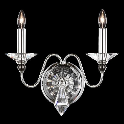Бра Schonbek настенный с серебром блестящим и хрусталем, артикул 9672-40 O