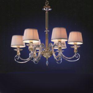 Потолочная люстра EUROLUCE LAMPADARIE в классическом стиле с абажурами из сатина цвета слоновой кости с розовым оттенком, артикул Sirio/L6L