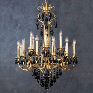 Золотая люстра из черного хрусталя Swarovski - FAUSTIG, артикул 258332/18G