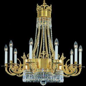 Люстра золотая с хрусталем, 10 рожков, артикул 261912/70G