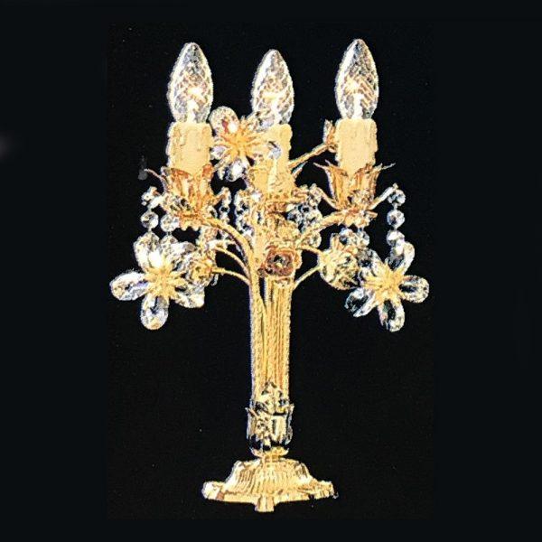 Лампа настольная декорирована цветами и отдельными крсталлами из хрусталя Swarovski Elements, артикул 30300.8/3G