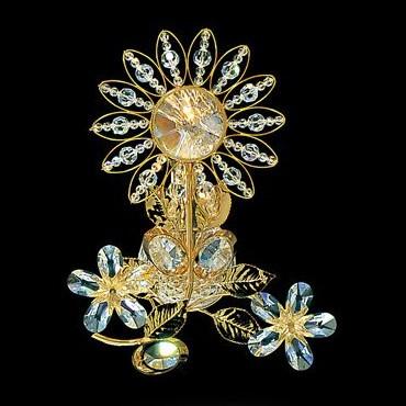Бра FAUSTIG в виде цветка с тонкими позолоченными листьями из золота и хрусталя, артикул 32000.5/1 GBR SWS