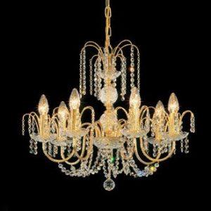 Люстра никелированная с золотом и хрусталем FAUSTIG в виде плакучей ивы, артикул 35001/7N