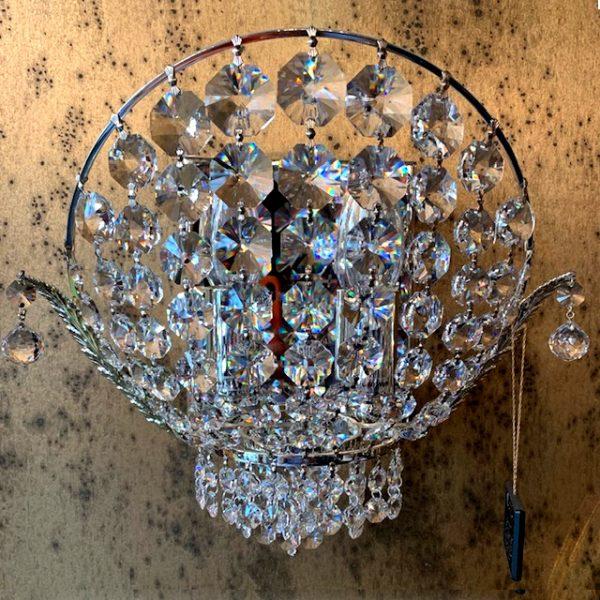 Бра современное серебряное FAUSTIG с гирляндами из хрусталя, артикул 35661.5/2S