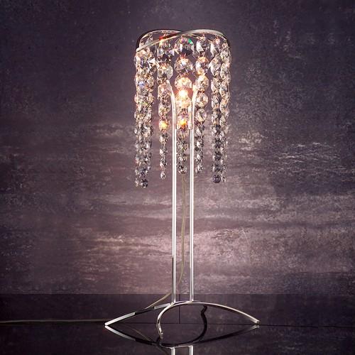 Лампа настольная FAUSTIG из серебра и хрустальных гирлянд в виде весенней капели, кристаллы Swarovski Elements, артикул 55000.8/1S