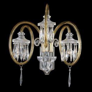 Хромированной настенное бра Богемия из стекла Fume с хрусталем Iris Cristal, артикул 650453/3 FU