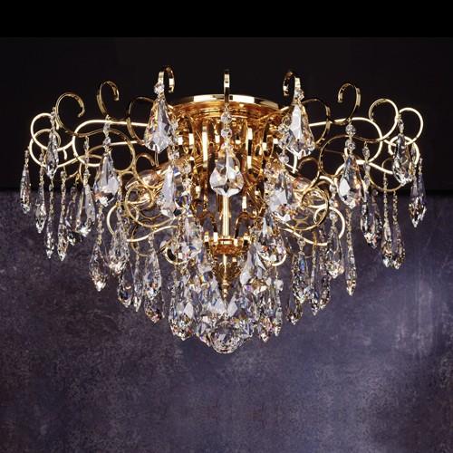 Золотой потолочный светильник FAUSTIG, прозрачный хрусталь Swarovski Elements SPS, артикул 70906.7/60GC