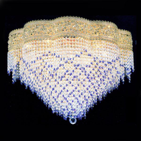 Потолочный хрустальный светильник FAUSTIG, декорированный хрусталем: Elements Clear, Blue Violet, Light Violet. Артикул 78000.7/60GCD
