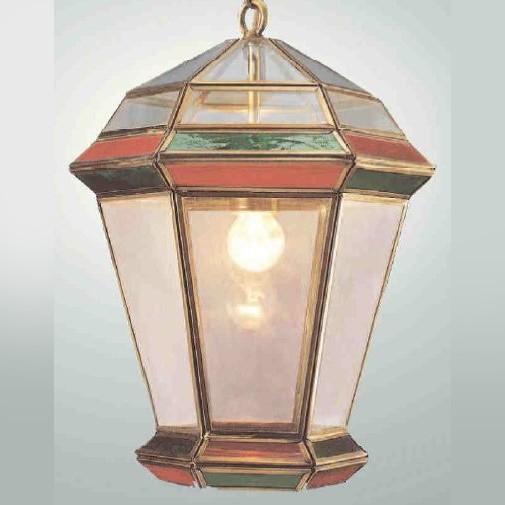Классический фонарь из латуни с эффектом старения и с цветными стеклами, артикул 881515