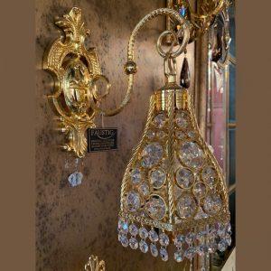 Бра настенное с золотом (4-гранный плафон, декорированный хрустальными кристаллами Сваровски Elements, артикул 92020.5/1G