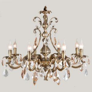 Подвесная люстра, покрытая золотом с прозрачными и золотистыми подвесками из хрусталя, артикул B854/8.B