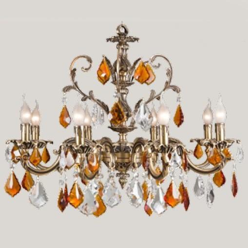 Хрустальная люстра из золота с подвесками из прозрачного и янтарного хрусталя Миндаль, артикул B857/8.B