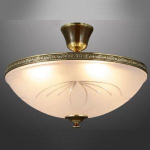 Классиеский потолочный светильник Valencia Lighting, каркас из бронзы, розовое сатинированное стекло, C/5L