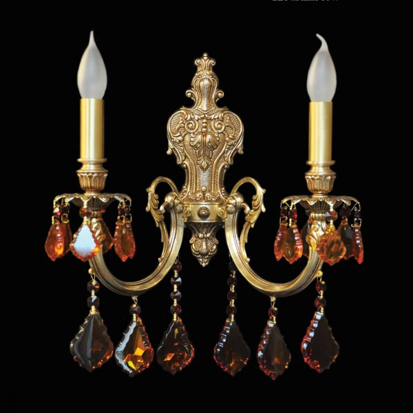Золотое бра Ramon Lozano с украшением в виде дубовых листьев из янтарного хрусталя, артикул 316/2 PATINA MAR