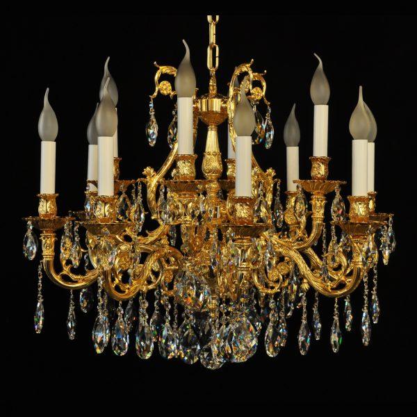 Люстра Ghidini, покрытая золотом с рисунком, хрусталь, артикул 5242/8+4G
