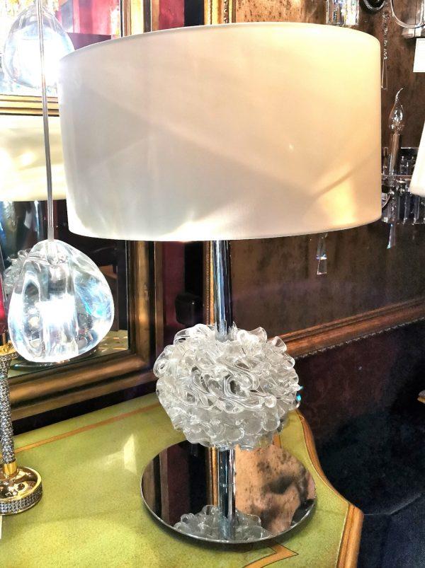 Настольная лампа Ilfari из латуни c хромом и декором из серебристого стекла, T1 6454C