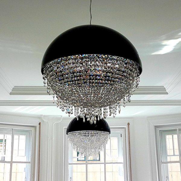 Круглая черная люстра с прозрачным хрустальным декором Luchiante, артикул GlitterBall-5